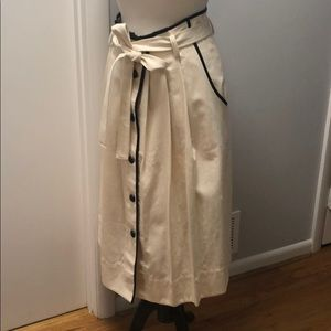Canvas Skirt w/ pockets & black pleather details